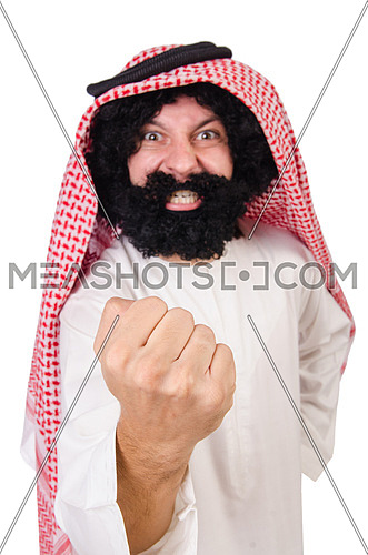 Funny threatening  arab man isolated on white