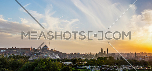Panoramic Scene for Old Cairo at sunset Featuring Mohamed Ali Citadel and Masjids of Cairo