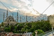 cityscape timelaps showing Sultan Ahmet Mosque during the day