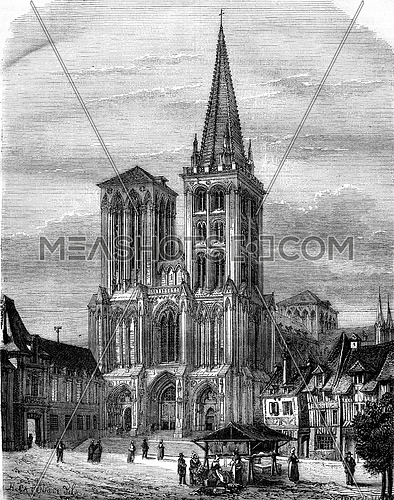 Lisieux, St. Peter's Church, Court and prison, vintage engraved illustration. Magasin Pittoresque 1878.