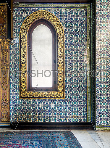 frame, wall, window, architecture, antique, wood, gold, decoration, vintage, ancient, pattern, retro, aged, blue, ceramic, Turkish, floral pattern, handmade, historical, mosaic, mosque, ottoman, porcelain, seamless, tiles, glass, arched