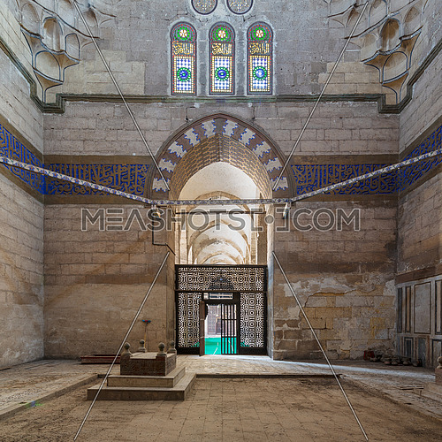 Interior shot of Mausoleum of Sultan Al Zaher Barquq wife and daughters at the complex of Al Nasr Farag Ibn Barquq complex located at the city of the dead, Cairo, Egypt
