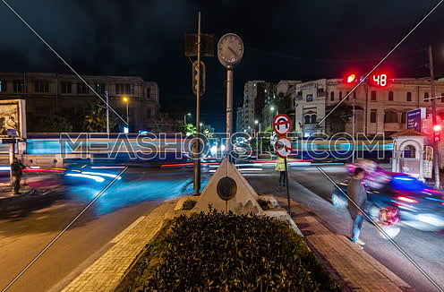Track Right shot for traffic at Alexandria at night timelapse
