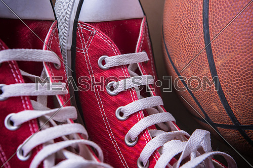 Sport sneakers and basket ball