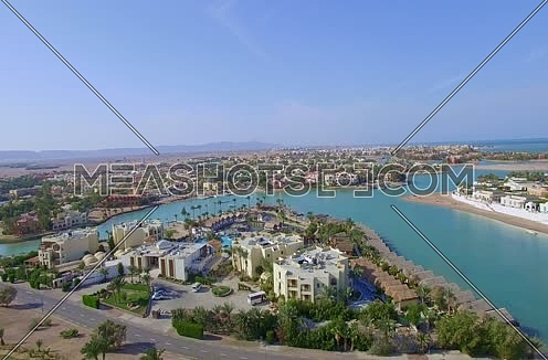 Jip up using Drone shot flying above Al Gouna at Day