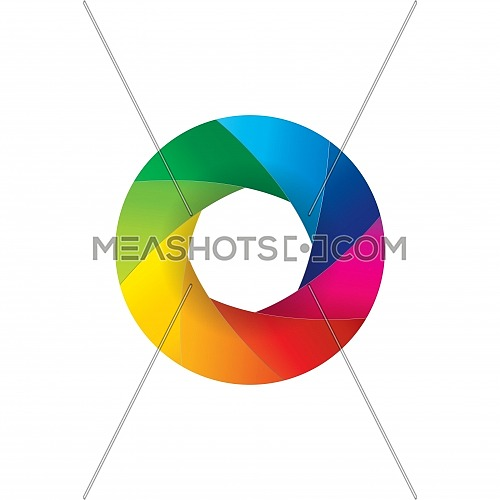 Vector illustration of rainbow colorful camera lens shutter open aperture isolated on white background