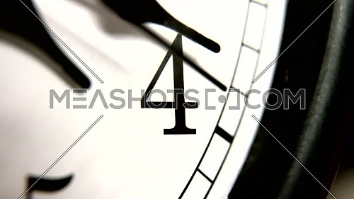 White wall clocks running. The movement of the clock hands. Highlight moves the clock hands. Shallow depth of field