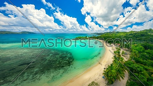 Drone shot of tropical beach.Samana peninsula,Playa Rincon beach,Dominican Republic.