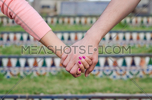 A couple are holding hands with each other