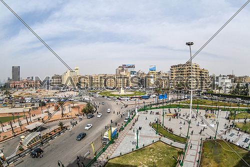 Panorama Shot for The Tahrir Square in central Cairo at day 18 March 2018.