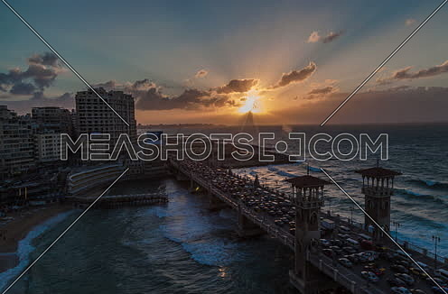 Fixed panorama shot for Stanly Bridge at Alexandria from Day to Night