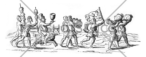 Cortege Signor Panigon king of Cocagne, vintage engraved illustration. Magasin Pittoresque 1842.