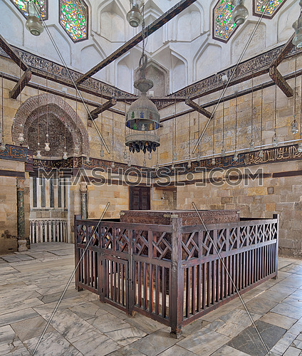 Interior of Mausoleum of al-Salih constructed by As-Saleh Nagm Ad-Din Ayyub in 1242-44, Al Muizz Street, Old Cairo, Egypt