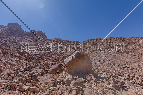 long shot for Sinai Mountain from Wadi Freij by day.
