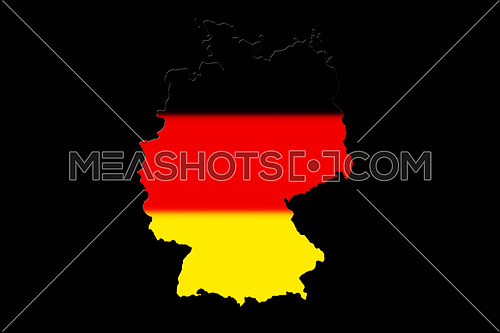 Map of Germany with national flag isolated on black background