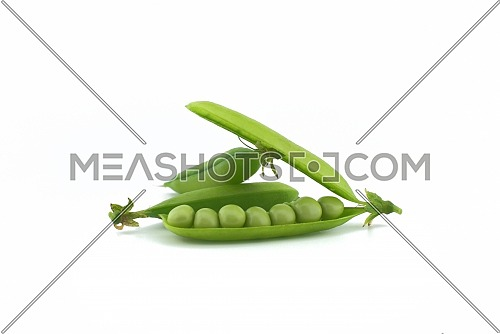 Fresh green peas in a pod isolated on white background