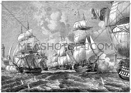 Admiral stallion with his squadron strength of the entrance floor, vintage engraved illustration. History of France – 1885.