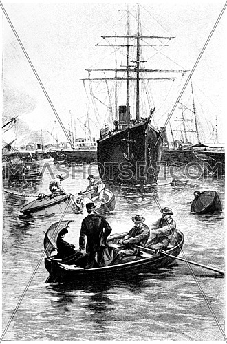 He was in the port of San Diego a number of steamers, vintage engraved illustration. Jules Verne Mistress Branican, 1891.