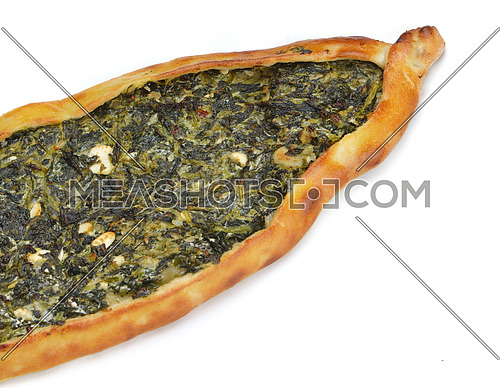 Homemade traditional Turkish meal pide stuffed with meat cheese,  and sauce isolated on white background