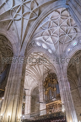 Almeria, SPAIN - May 19: Interior of Cathedral of the incarnation, detail of vault formed by pointed arches, In bottom organ and choir, unique nature of fortress built in the 16th century, placed in Almeria, Andalusia, Spain