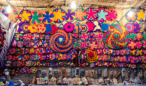 Traditional Craft fabric made in colorful circles in Aswan , Egypt