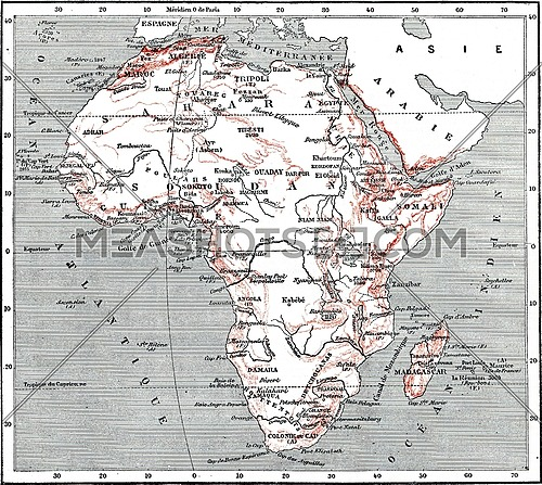 Map of Africa, vintage engraved illustration. Dictionary of words and things - Larive and Fleury - 1895.