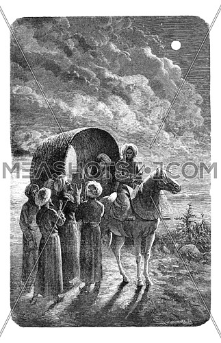 The author separated from his companions, vintage engraved illustration. Le Tour du Monde, Travel Journal, (1865).