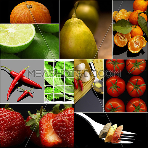 Organic Vegetarian Vegan dietetic  food collage  dark mood