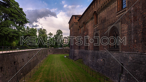 In the picture the Outer Wall of Sforza castle (Castello Sforzesco) in Milan, Italy