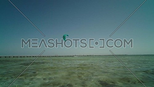 Follow shot for kite surfers in Sharm el shaikh at day