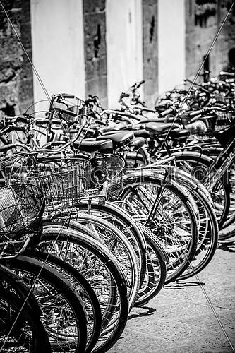 a row of bicycles  parked on the pavement