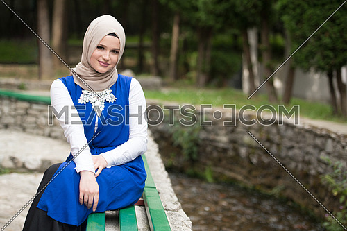 Portrait Of Young Muslim Woman Sitting On Bench In Park