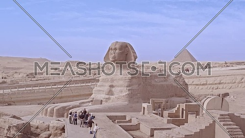 Reavel Shot Drone for The Sphinx and Menkaure Pyramid in background in Giza at day