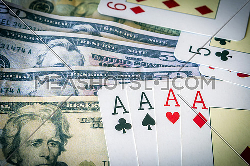 poker card with many us dollar, game