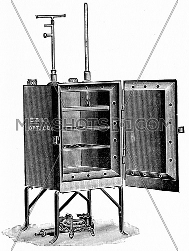 Double wall hot air sterilizer, vintage engraved illustration.