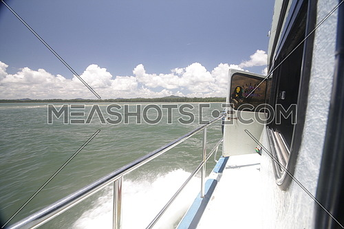 a view from a yacht showing Bob Marley poster on the door  in Thailand  shot on 19 Aug 2013