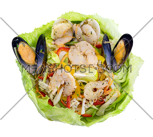 Healthy shrimps salad with green mix and lemon wrapped in lettuce. Top view isolated on white background with clipping path