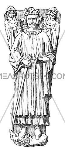 Statue of John Lackland on his tomb in Worcester, vintage engraved illustration. Magasin Pittoresque 1861.
