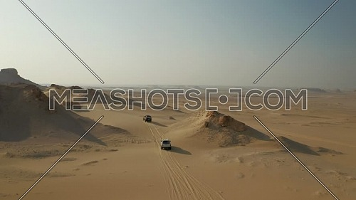 Flying over 4x4 cars offroading in Fayoum Desert dunes bashing