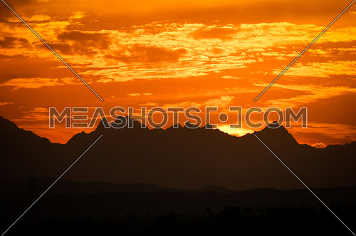 Sunset behind Mountains - red sea - Egypt