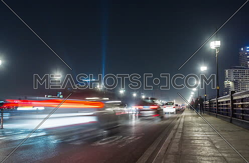 Zoom Out Low Angel Inside Qasr Al Nile Bridge at Night