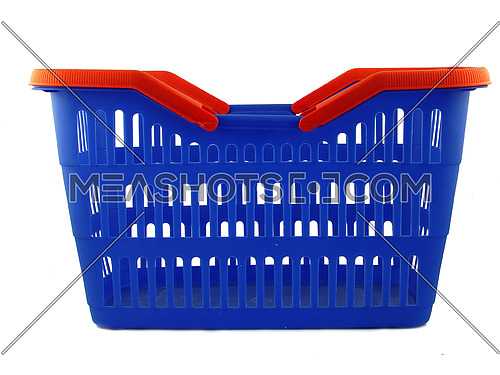 blue shopping basket on white background
