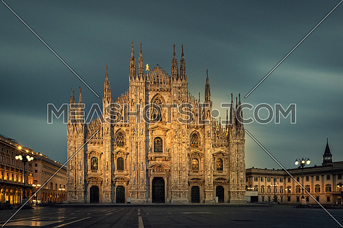 Duomo , Milan gothic cathedral at evening,Italy,Europe.Horizontal photo with copy-space.Long exposure photo.