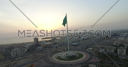 Drone shot for the longest mast flag in the world Saudi Arabia flag at sunset