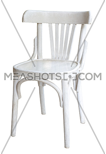 Traditional Egyptian white wooden chair isolated on white background including clipping path