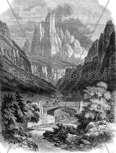A view in Tyrol, vintage engraved illustration. Magasin Pittoresque 1857.