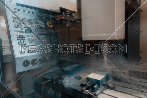 industrial metalwork machining process by cutting tool on CNC lathe. High quality photo