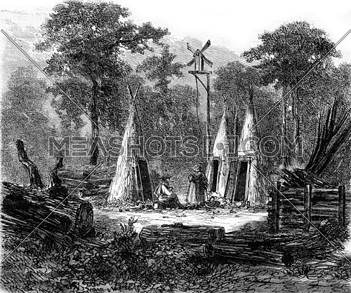 The Ardennes, Logging camp, vintage engraved illustration. Magasin Pittoresque 1873.