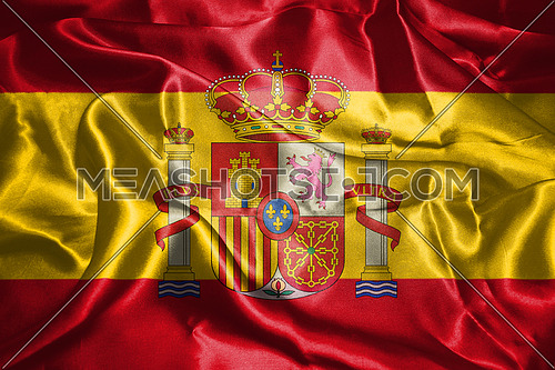 Spanish National Flag With Coat Of Arms Waving In The Wind 3D illustration