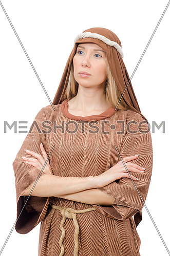 Woman in traditional arabian costume isolated on white